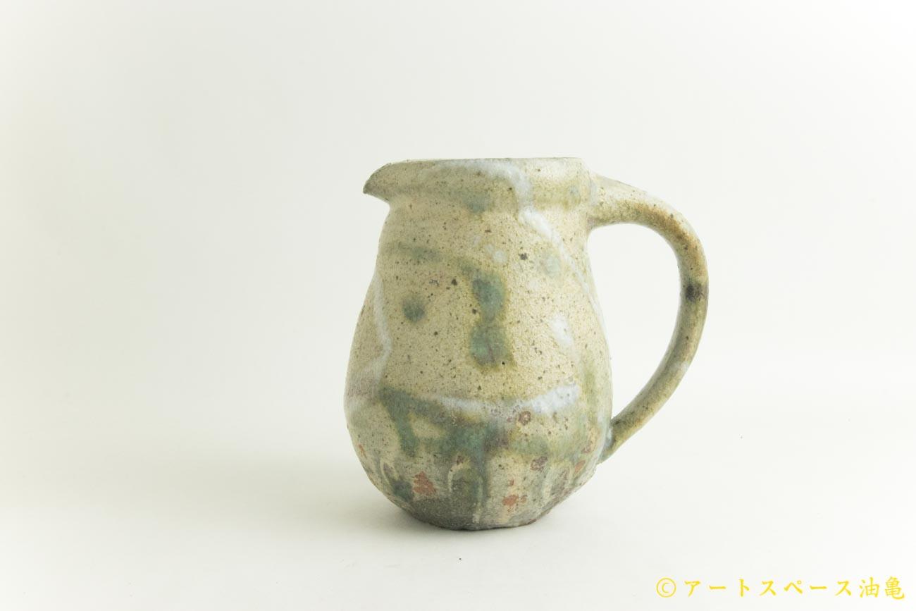 画像1: 加地学「白化粧 灰釉 銅釉  ピッチャー」