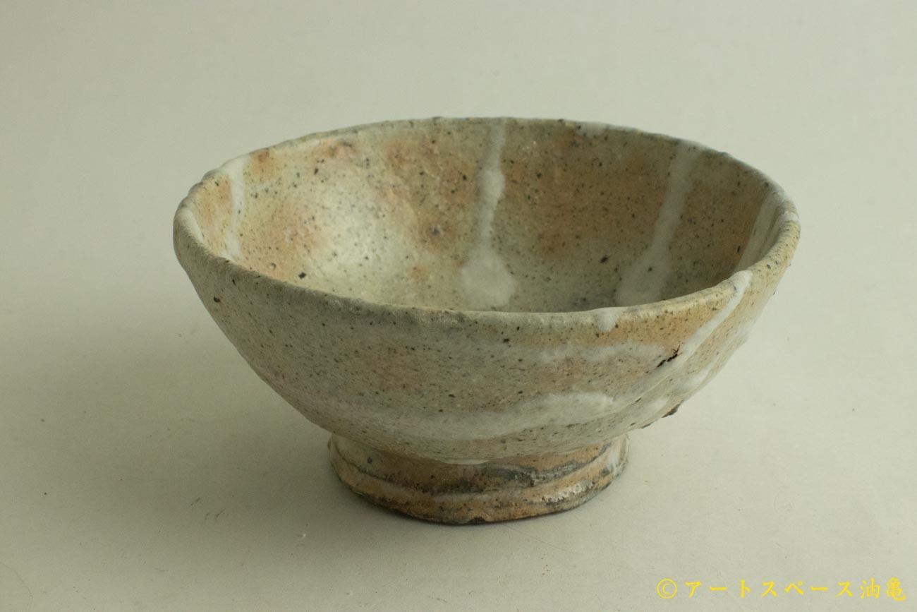 画像1: 加地学「白化粧 灰釉 銅釉  飯碗」
