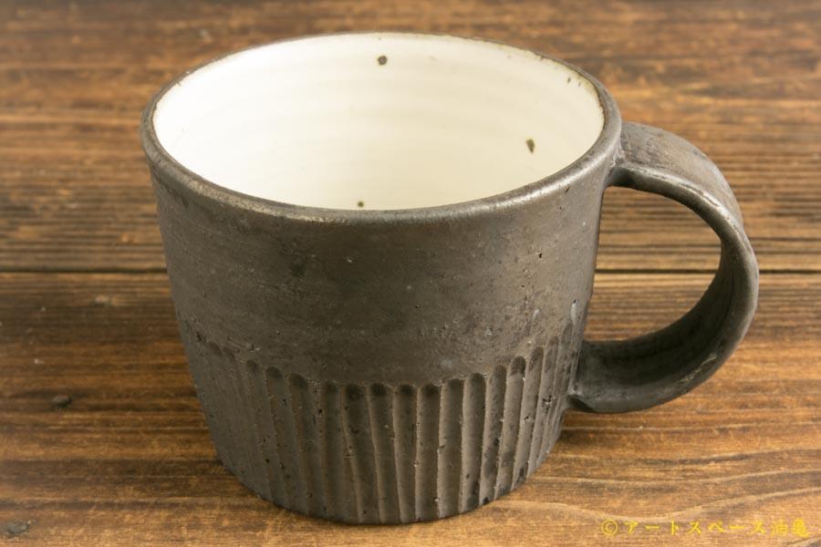 画像2: 加藤祥孝「粉引鉄釉 台形しのぎマグカップ」
