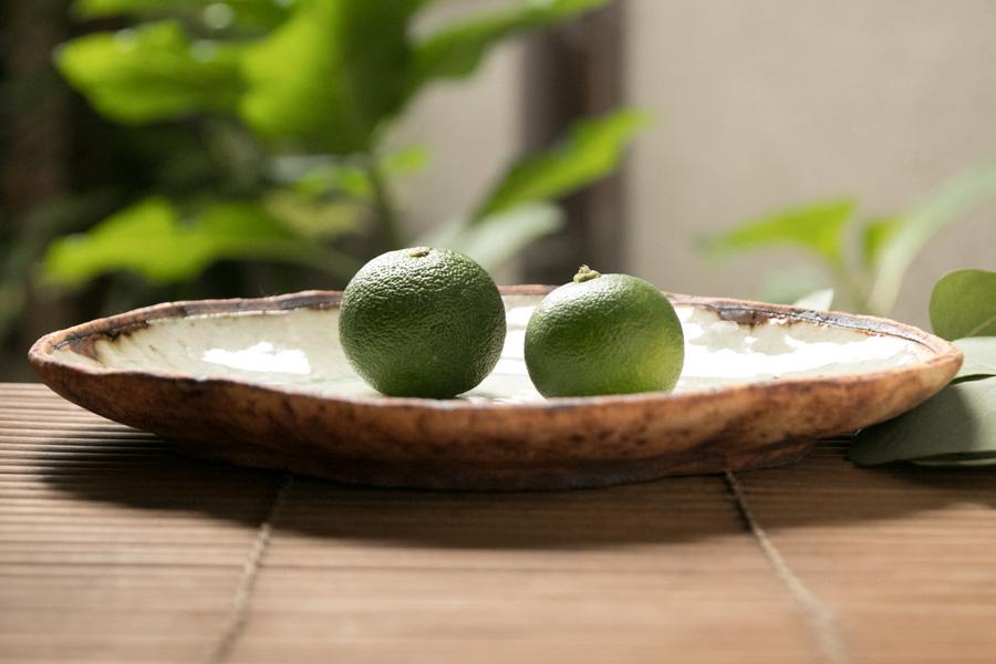 画像1: 加藤祥孝 灰釉 7寸木瓜皿