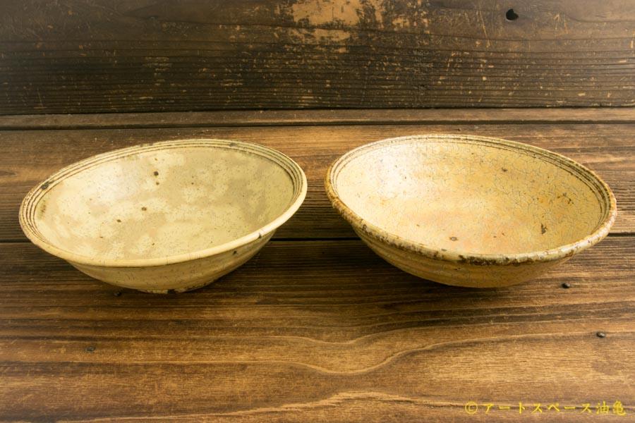 画像2: 工藤和彦「黄粉引ふち刻線平鉢」