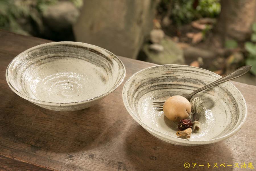 画像1: 工藤和彦  ふち白樺刷毛目7寸平鉢