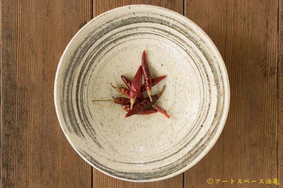 画像1: 工藤和彦  ふち白樺 刷毛目7寸平鉢