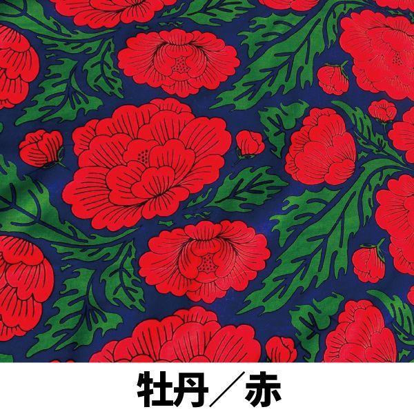 画像1: 【即売商品】テキスタイルデザインmakumo「ハンカチ 牡丹/赤」【DM便対応商品】【レターパック対応商品】