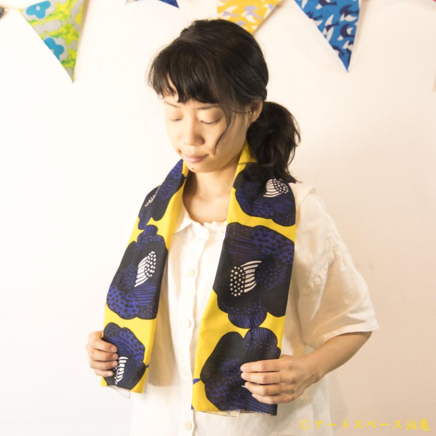 画像1: 【即売商品】テキスタイルデザインmakumo「手ぬぐいタオル 椿/黄」【DM便対応商品】【レターパック対応商品】