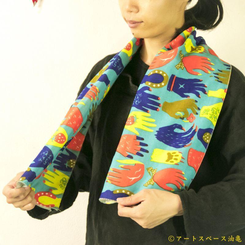 画像1: 【即売商品】テキスタイルデザインmakumo「手ぬぐいタオル 手手/水色」【DM便対応商品】【レターパック対応商品】