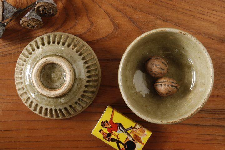 画像1: 益子淳一「灰釉しのぎ豆鉢」【油亀限定作品】