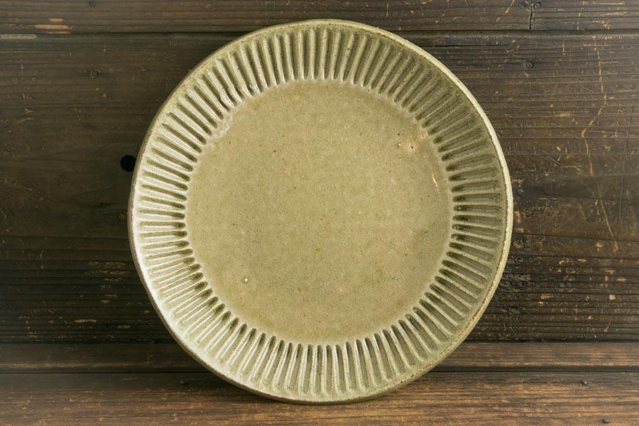 画像1: 益子淳一「灰釉しのぎカレー皿」【油亀限定作品】