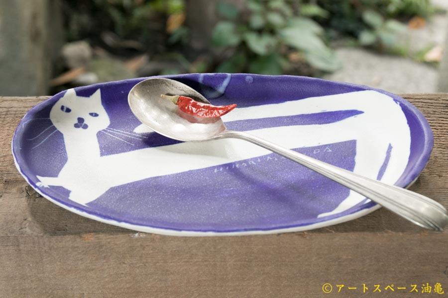 画像3: 増田光 青白長楕円皿 ネコ