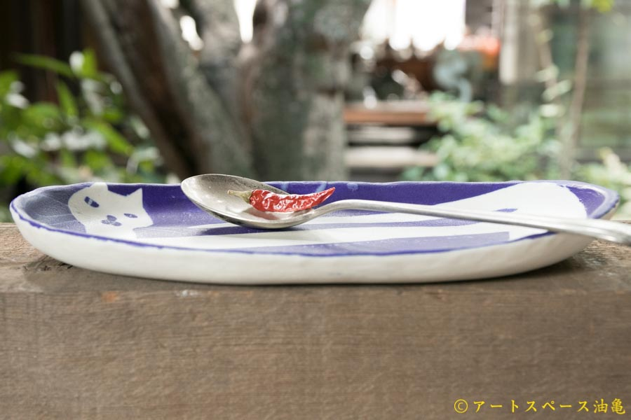 画像4: 増田光 青白長楕円皿 ネコ