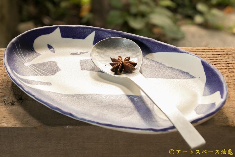 画像3: 増田光 青白長楕円皿 キツネ