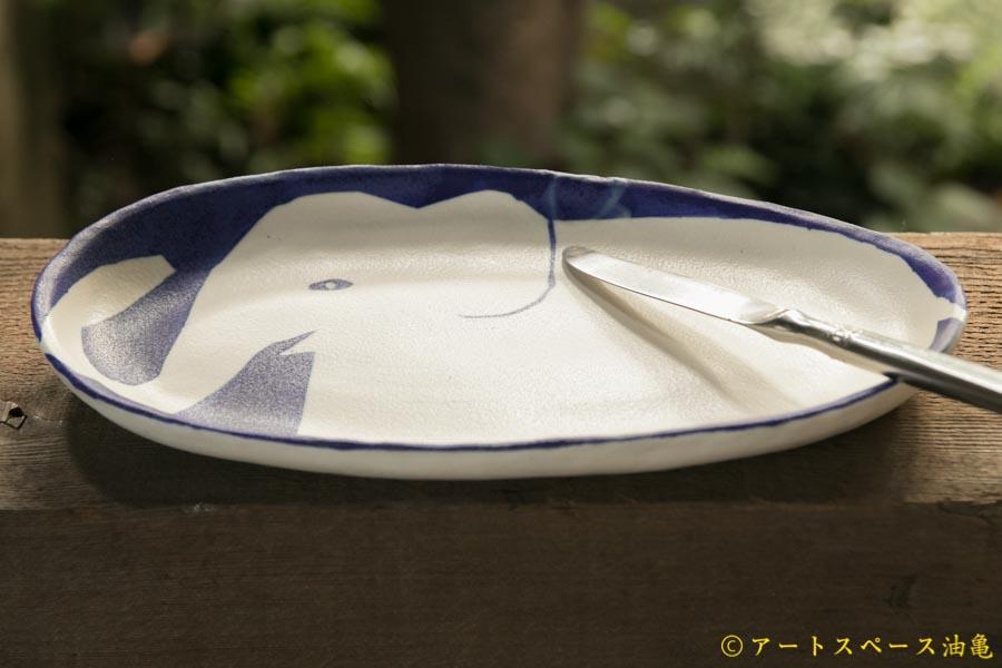 画像3: 増田光 青白長楕円皿 ゾウ