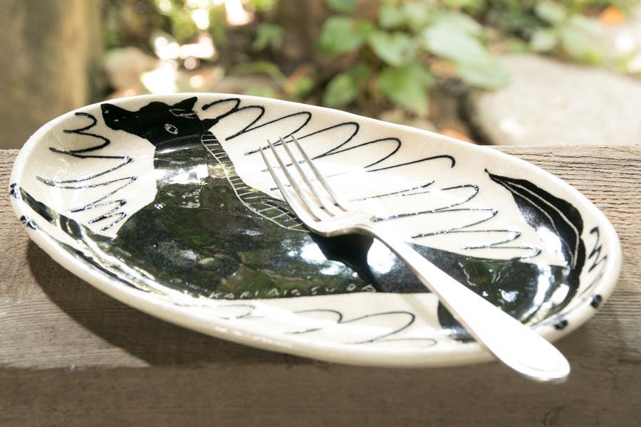 画像3: 増田光 白黒長楕円皿 ウマ