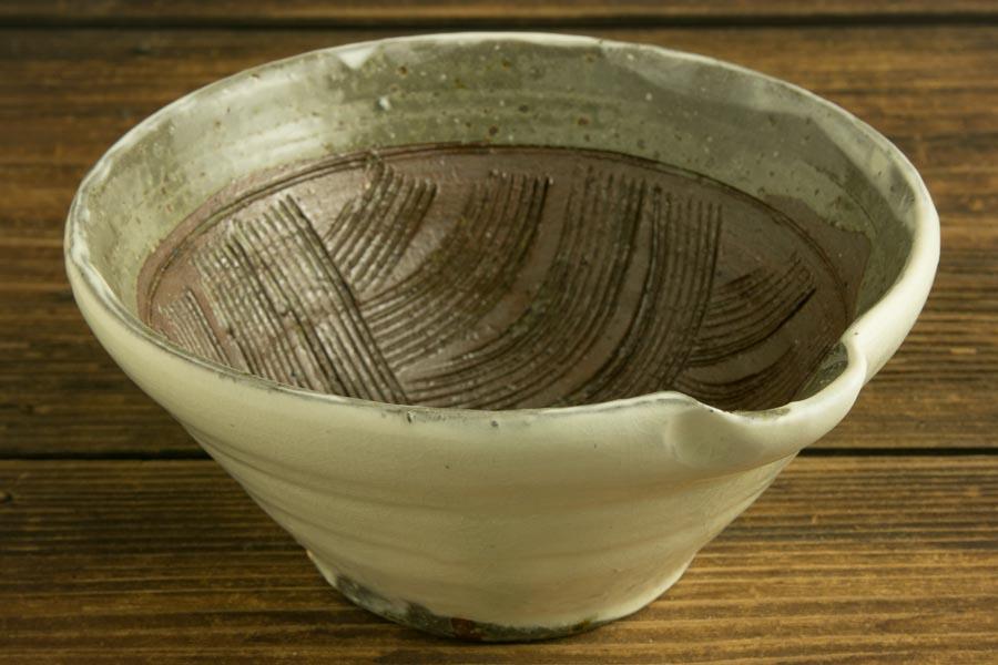 画像1: 馬渡新平 フルーツ粉引き すり鉢5寸