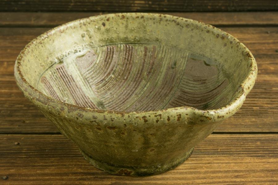 画像1: 馬渡新平「フルーツ緑灰釉 すり鉢6寸」