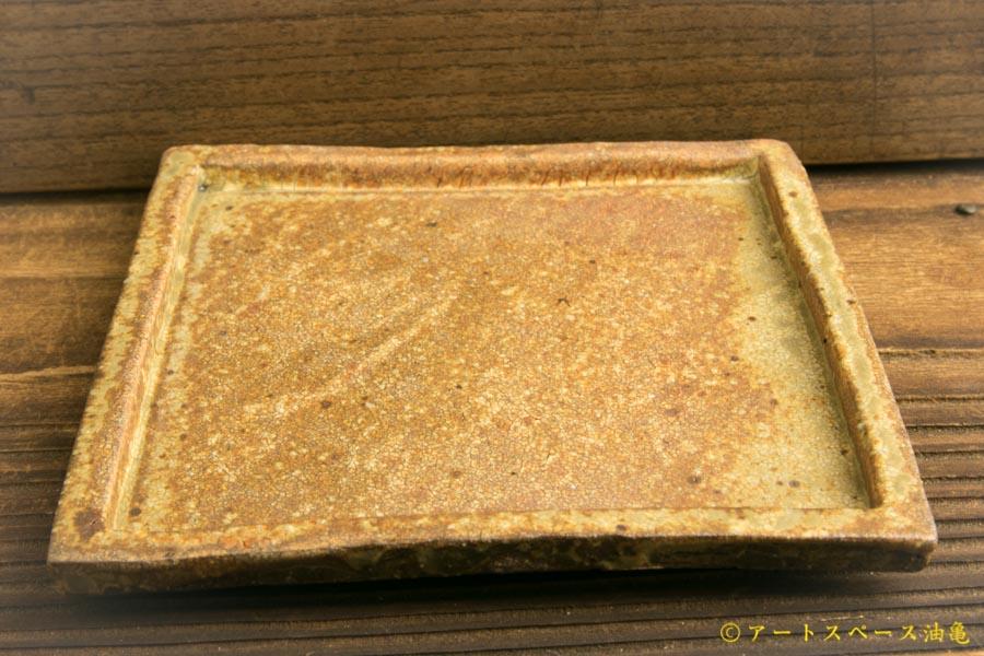 画像3: 馬渡新平「ヒビ粉引き 四角板皿4寸」