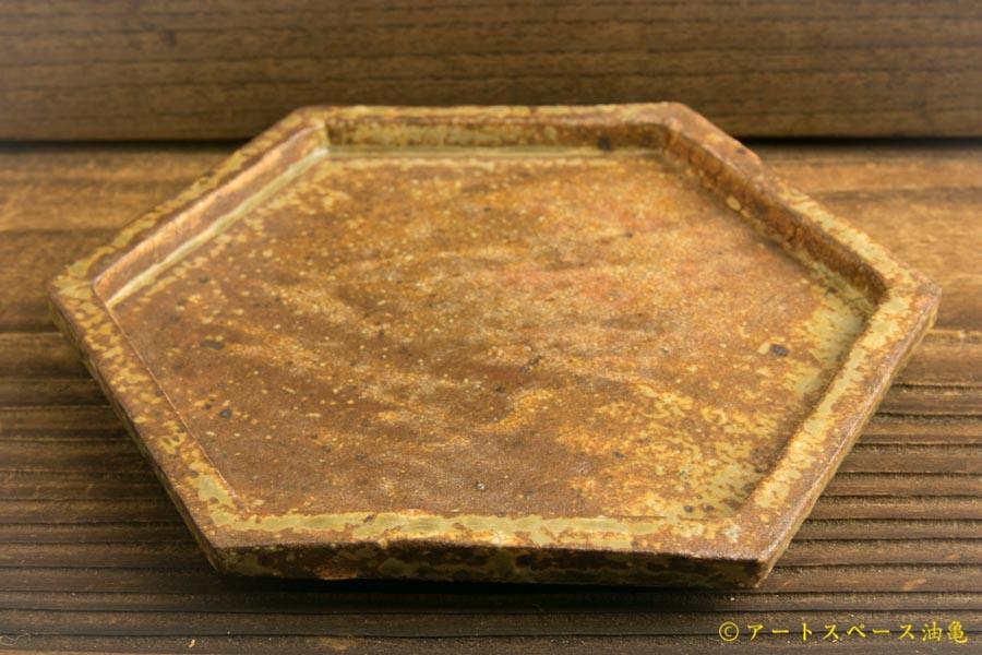 画像3: 馬渡新平「ヒビ粉引き 六角板皿4寸」