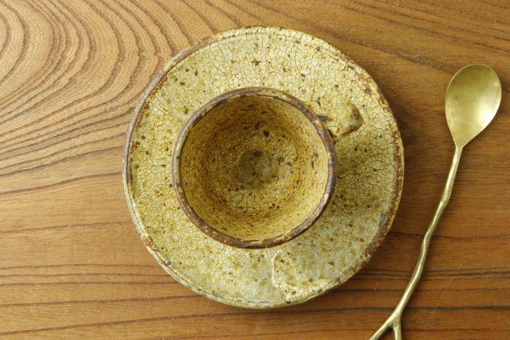 画像3: 馬渡新平「ヒビ粉引 カップ&ソーサー」