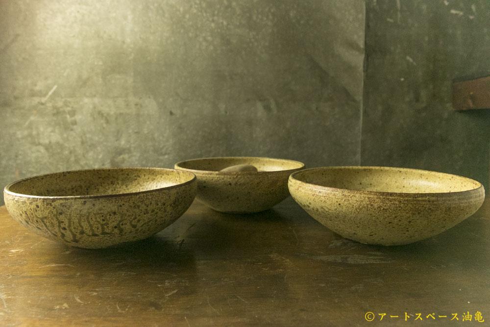 画像1: 馬渡新平「ヒビ粉引 7寸丸鉢」