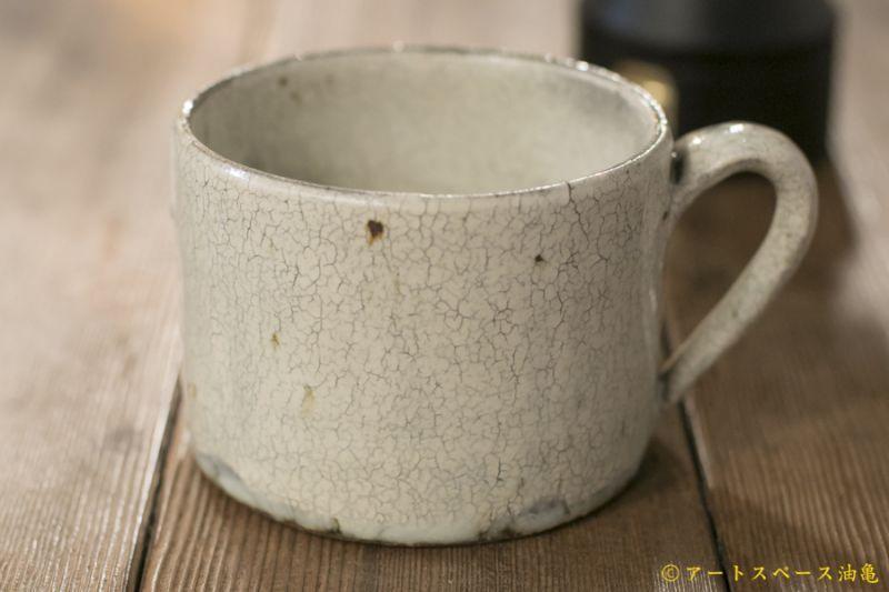 画像1: 馬渡新平 白ヒビ粉引き スープマグカップ【アソート作品】