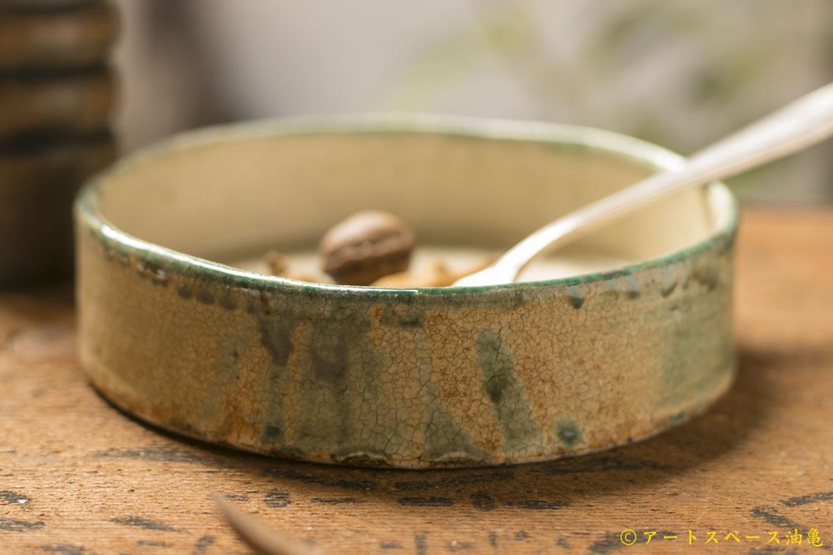 画像2: 馬渡新平 緑ヒビ粉引き(内白) 平鉢5寸