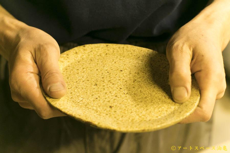画像1: 馬渡新平「ヒビ粉引き オーバル皿6寸」