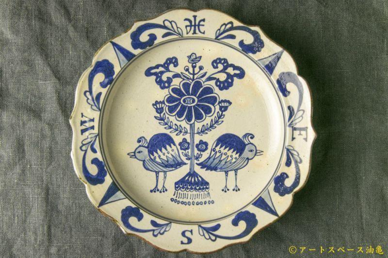 画像1: 三浦圭司「染付 輪花8寸皿 鳥と方位磁針」