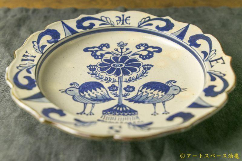 画像2: 三浦圭司「染付 輪花8寸皿 鳥と方位磁針」