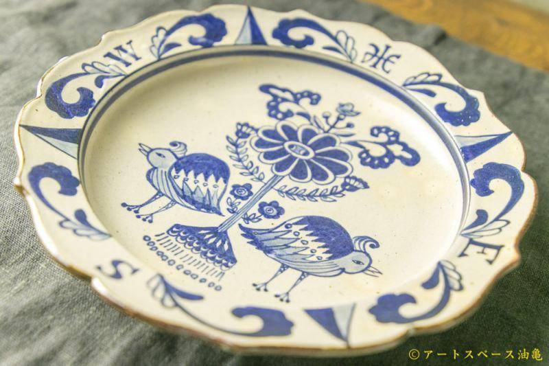 画像3: 三浦圭司「染付 輪花8寸皿 鳥と方位磁針」