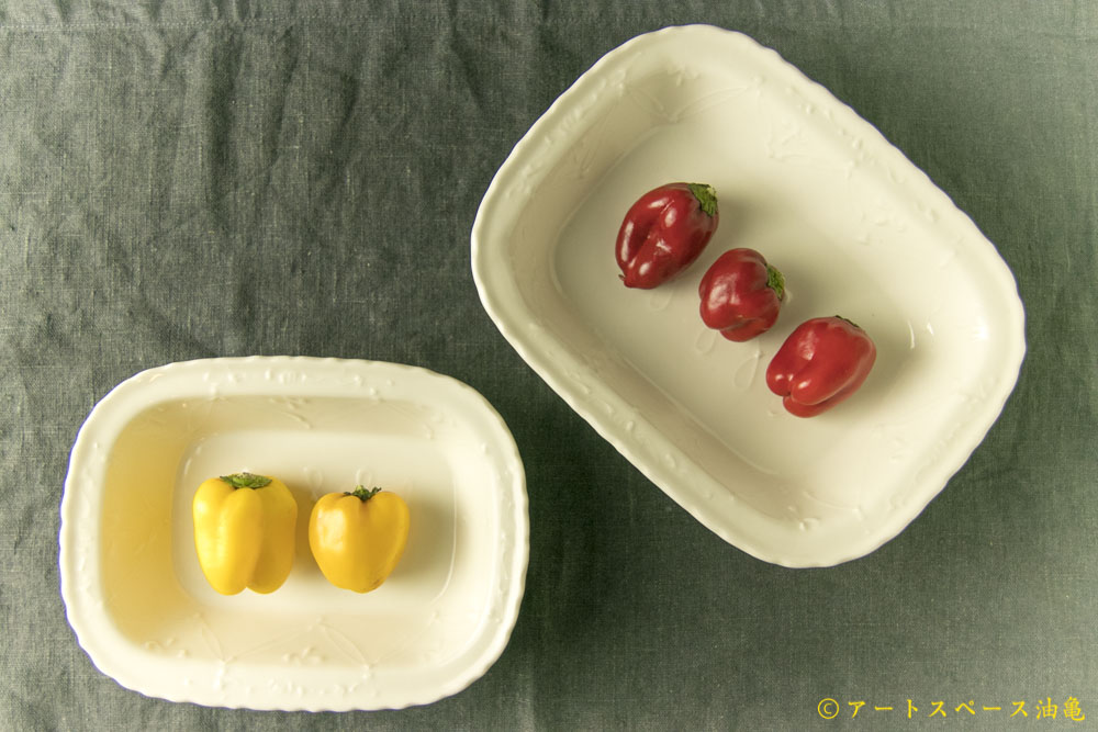 画像1: 武者 千夏子「白磁楕円リム皿」