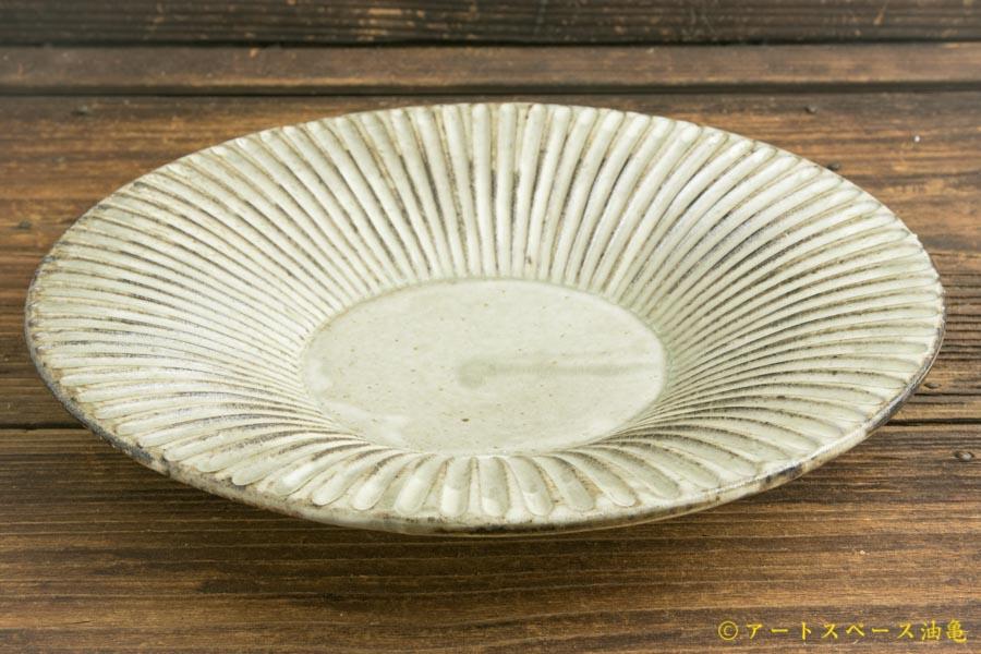 画像1: 小倉夏樹「灰粉引 鎬リム皿7寸」