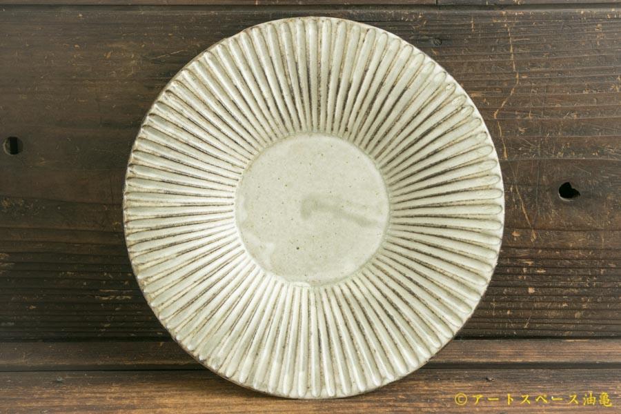 画像2: 小倉夏樹「灰粉引 鎬リム皿7寸」