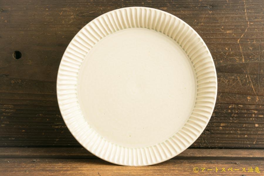画像1: 小倉夏樹「白磁 鎬 リム皿7寸」