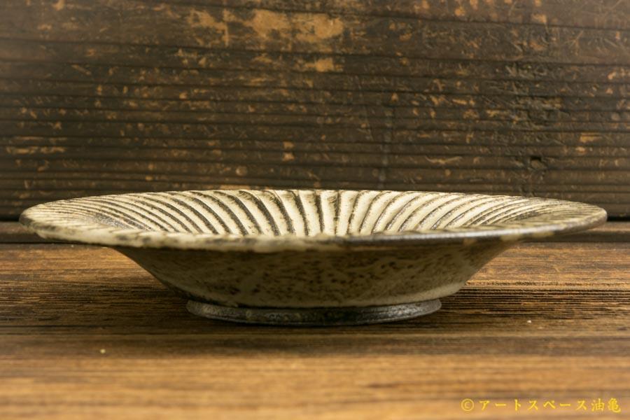 画像2: 小倉夏樹「灰粉引 鎬リム皿5寸」