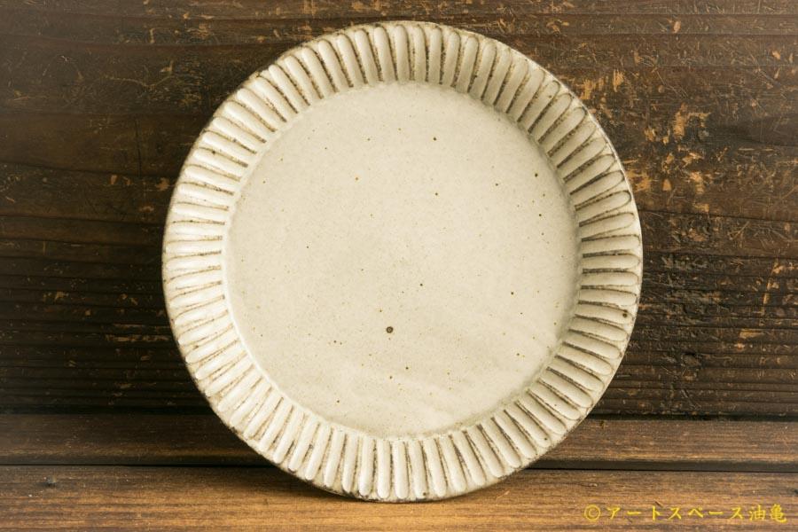 画像1: 小倉夏樹「灰粉引 鎬リム平皿5.5寸」