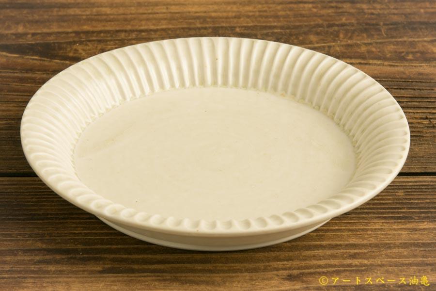画像2: 小倉夏樹「白磁 鎬リム平皿5.5寸」