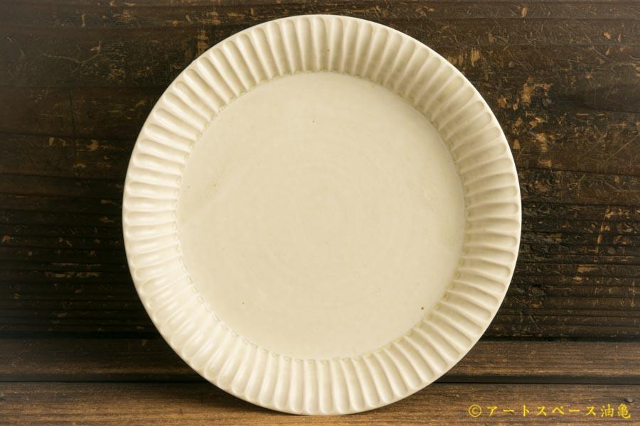 画像1: 小倉夏樹「白磁 鎬リム平皿5.5寸」