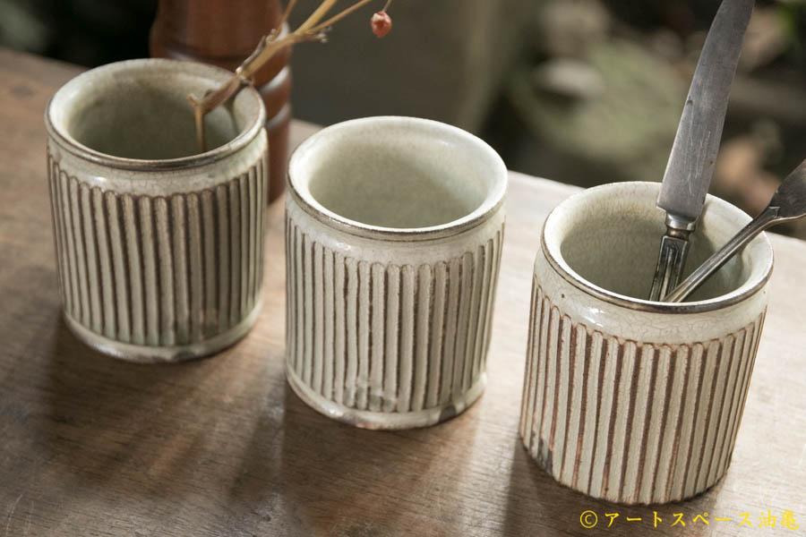 画像1: 小倉夏樹 灰粉引 カトラリースタンドS