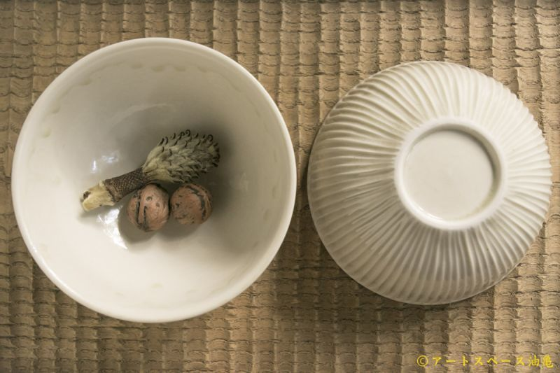 画像2: 小倉夏樹 白磁 鎬碗【アソート作品】