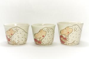 画像2: 岡美希「アニマルそば猪口(ハートとホワイトゴリラ)」