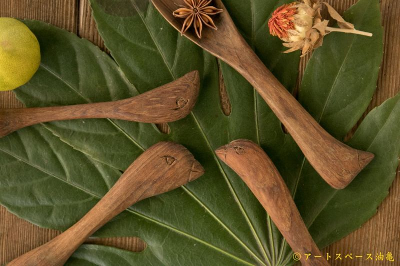 画像1: 奥山泉 木のスプーン とり(約18.0〜20.0cm)【アソート作品】