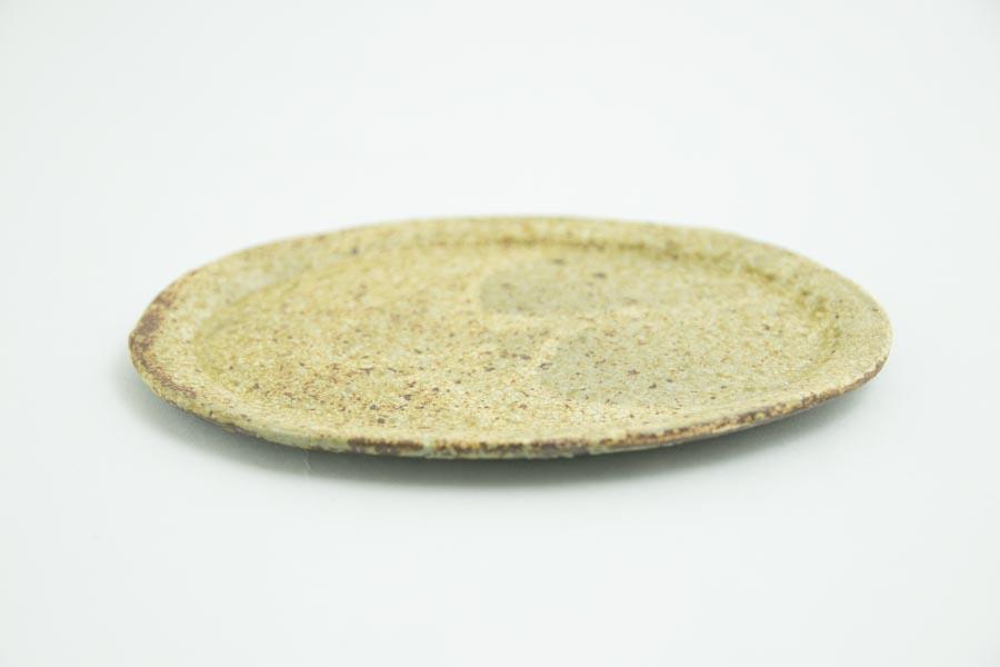 画像2: 馬渡新平「ヒビ粉引き オーバル皿5寸」
