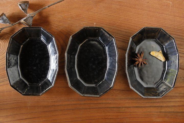 画像3: 高島 悠吏「黒釉 十二角楕円豆皿」【アソート作品】