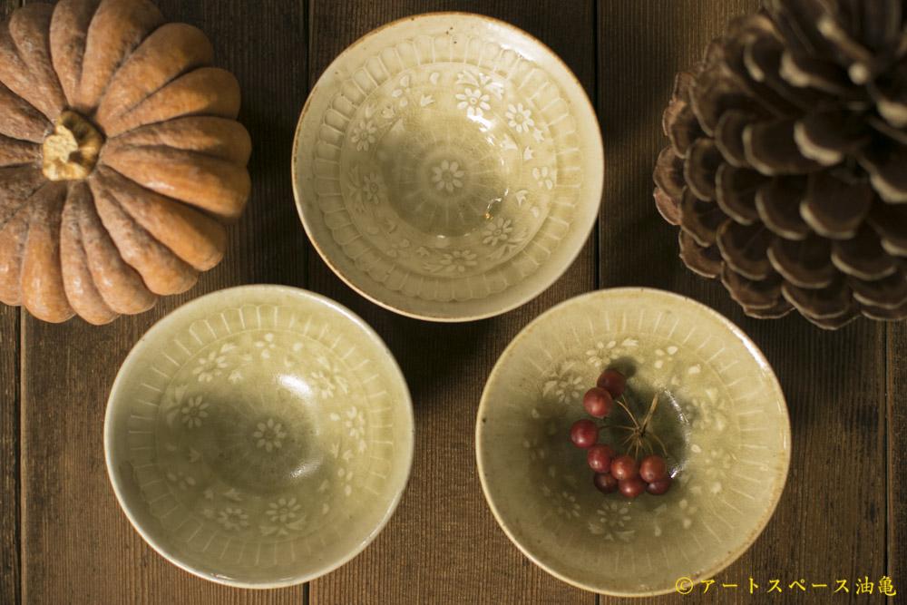 画像1: 田村文宏「灰釉印花鉢」