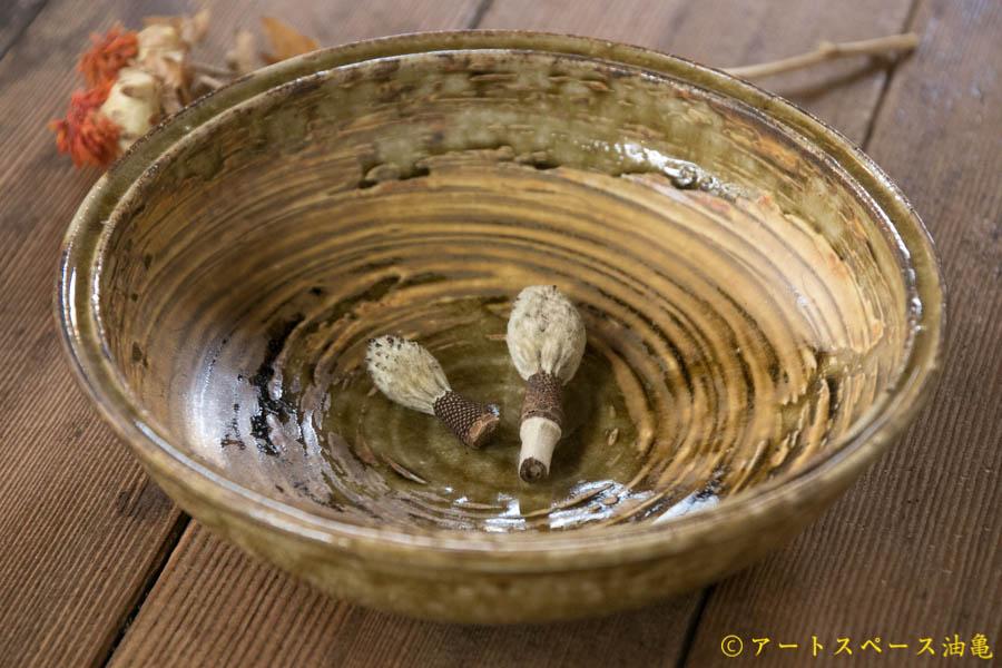 画像1: 田村文宏 灰釉 刷毛目 鉢