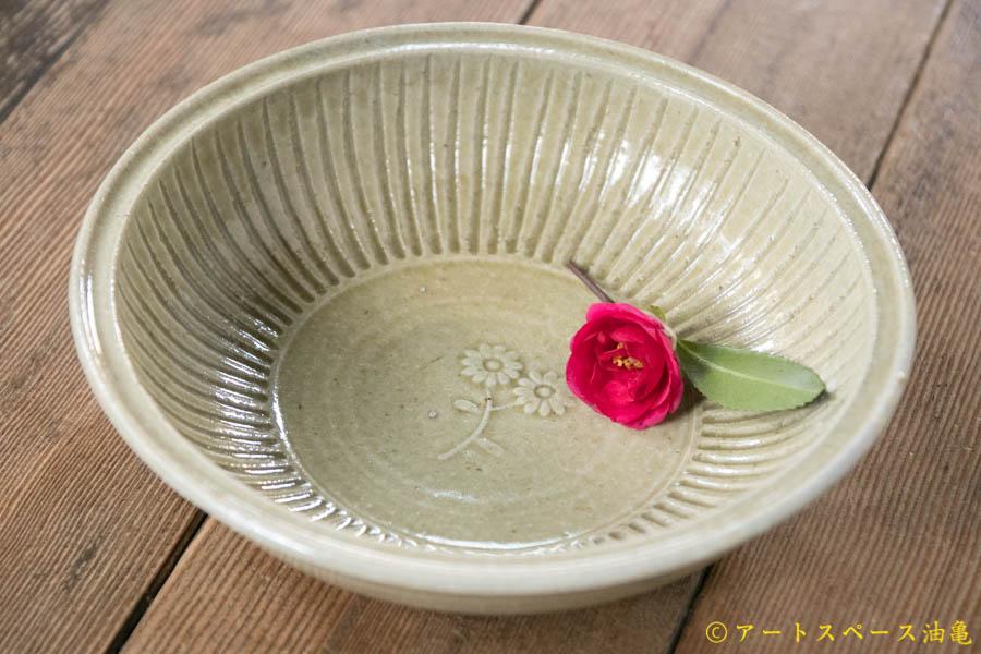 画像1: 田村文宏 灰釉印花 鎬鉢