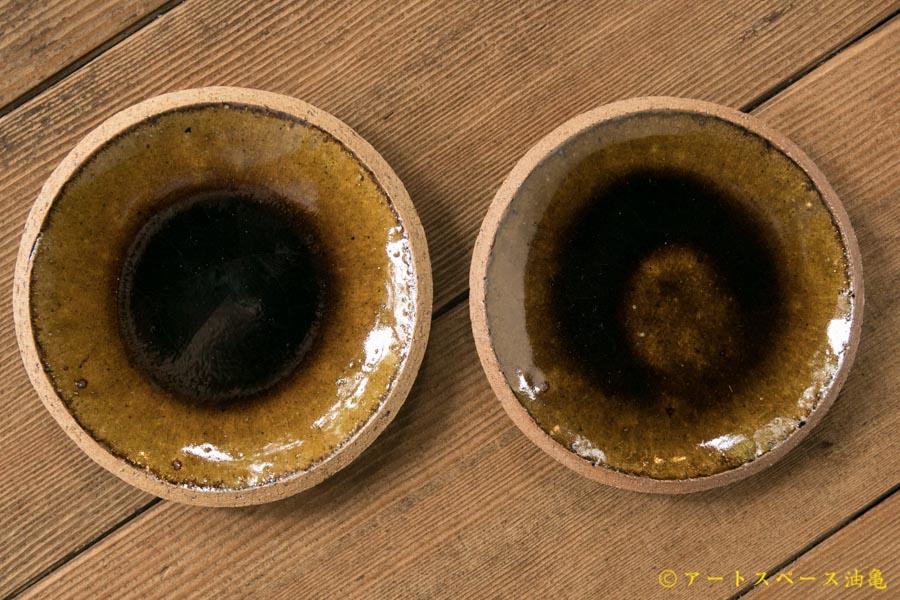 画像1: 寺村光輔 飴釉 4寸丸皿(薪)