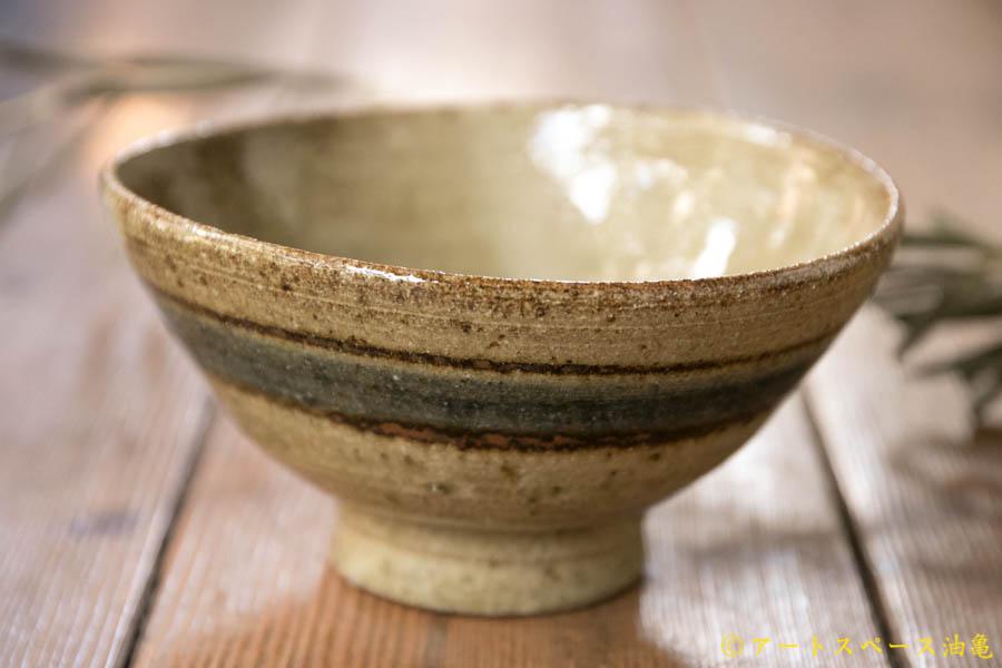 画像1: 寺村光輔 並白釉 呉須鉄絵飯碗(薪)