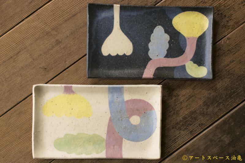 画像1: 馬川祐輔 長角皿(植物模様)