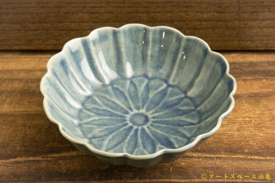 画像2: 柳川謙治「薄瑠璃 菊華輪花豆鉢」
